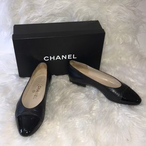 Chanel black flats size 38